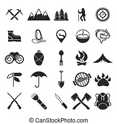 adventure web icons set flat design