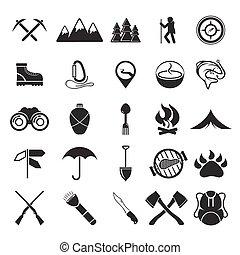 adventure web icons set flat design