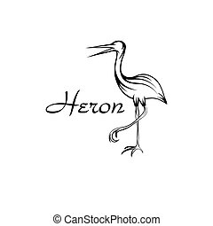 Heron bird in outline style