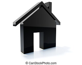 Black home icon isolated on white
