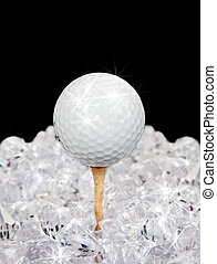 golf ball on tee in diamonds - ultimate golf sparkling ball...