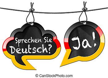 Sprechen Sie Deutsch - Speech Bubbles - Two speech bubbles...