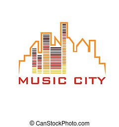 music city concept vector design template