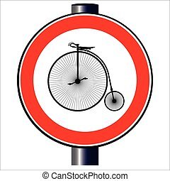 Penny Farthing Traffic Sign - A large round red traffic sign...