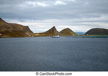 Fish Farm at the Porsangerfjord, Norway - Fish farming at...