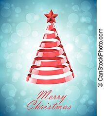 Abstract Red Ribbon Christmas Tree On Blue Background...