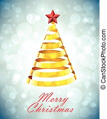 Abstract Gold Ribbon Christmas Tree On Grey Blue Background...