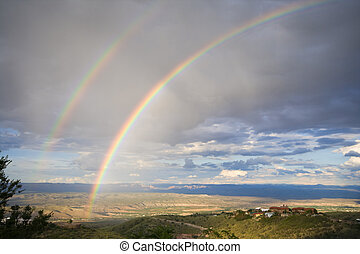 Rainbow - Double rainbow over valley in Arizona