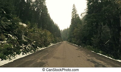 Driving Winding Winter Road in Mountains Forest