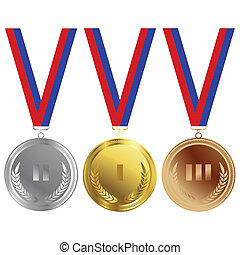 Gold, bronze and silver