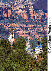 Tipi and Red Rocks - Native American tipi in Arizona with...