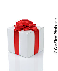white paper gift box with red ribbon bow isolated