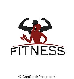 man and woman of fitness silhouette