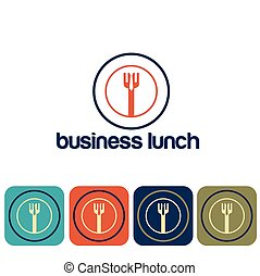 business lunch and icon set flat design