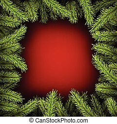 Background with fir branches - Red square background with...