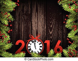 2016 background. - 2016 wooden background with fir branches...