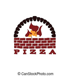 illustration of brick oven pizza