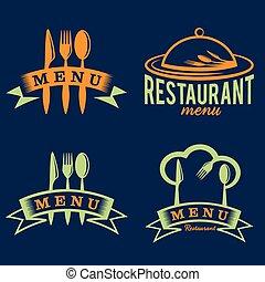 restaurant and menu elements set