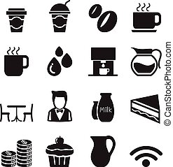 Silhouette Coffee shop icons Set