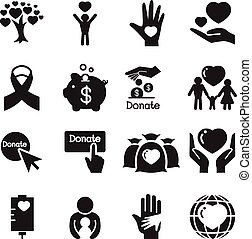 Silhouette Donation & giving icons set