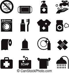 Silhouette Hygiene icons set