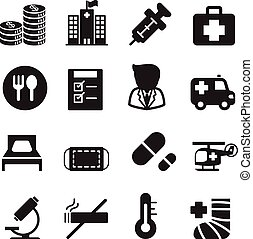 Silhouette Hospital icons set