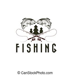 vintage fishing vector design template