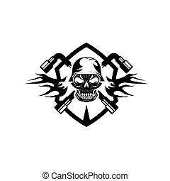 crest with skull in helmet and spanners