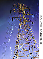 Electricity Pylon with Lightning in Background. - Dramatic...