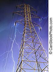 electricidad, pilón, relámpago, Plano de fondo