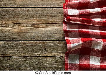 vermelho, toalha de mesa,