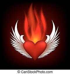 Burning Heart - Burning heart with wings in flame tips...