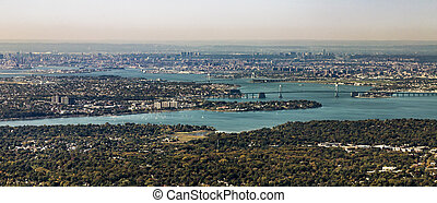 aerial of Queens with throgs net bridge and east river in...