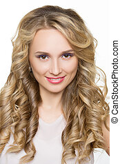 Beautiful woman with long blond curly hair.