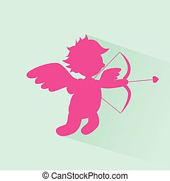 Valentine's Angel With Bow Arrow Cupid Silhouette Valentine...