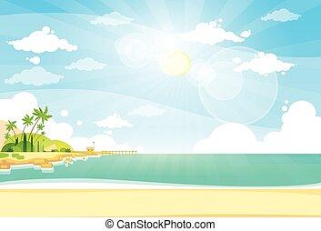 Sea Shore Sand Beach Summer Vacation Blue Sky Sun Vector...