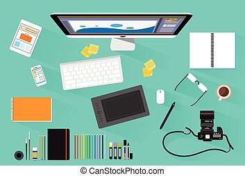 Graphic Designer Photographer Workplace Desk Computer...