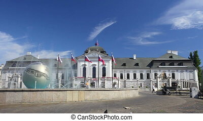 Playing fountain near Presidential Palace in Bratislava,...