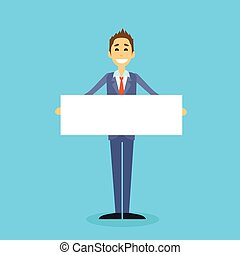 Businessman With White Board, Signboard, Showing An Empty...