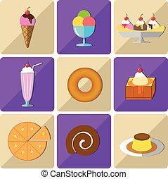 Icon dessert - Flat style icon sets of the dessert