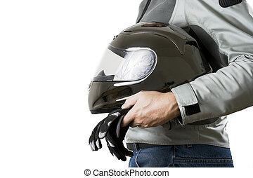 Motorcyclist - Torso of a motorcyclist in protective gear...