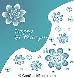 Happy birthday card in blue and white