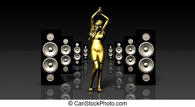 Sound System with Female Dancing