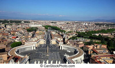 St Peter Square in Vatican city, Italy - General above view...