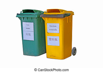 Two color dirty trash bin with english, thai, chinese text...
