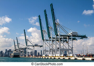 Seaport of Miami - Cargo ship loading containers at the...