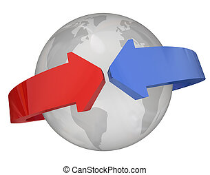 Arrows Around Globe International Relations - Arrows around...