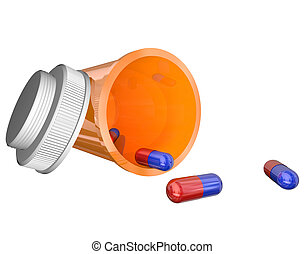 Orange Prescription Medicine Bottle Pills Capsules