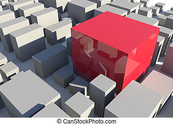 Red Cube in City