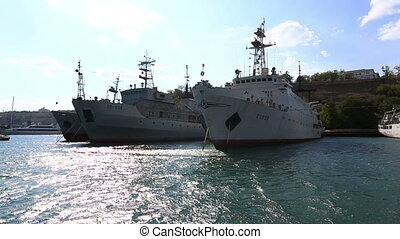 Naval auxiliaries parked in Sevastopol bay, Crimea - Autumn...